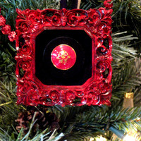 Christmas Holiday Ornament - Super Summer Sale BOGO 1/2 PRICE - Ornate red frame with a red oriental button over black velvet