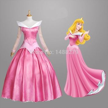 2016 New Sleeping Beauty Princess Aurora Cosplay Costume Gorgeous Pink Fancy Dress Halloween Costumes for Women Custom Any Size