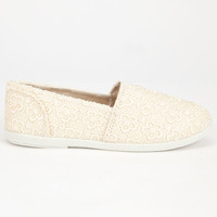 Soda Girls Crochet Stretch Slip-On Shoes Peach  In Sizes