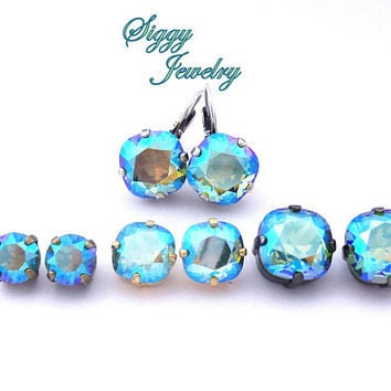 Erinite Shimmer Earrings, NEW 2017/2018 Swarovski® Color, Studs or Drops, Various Sizes and Finishes, Cushion Cut, Round, FREE SHIPPING