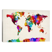 Map of The World II by Michael Tompsett (Canvas)