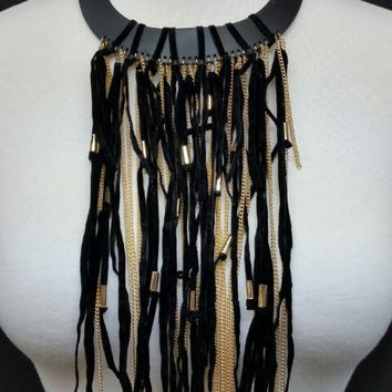 "14"" black faux leather fringe faux suede tassel chain boho collar choker necklace"