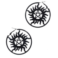 Supernatural Anti-Possession Symbol Hoop Earrings