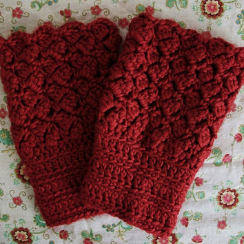 Garnet Red Boot Toppers Vegan Boot Cuffs Cranberry Red Crochet Legwarmers Retro Style
