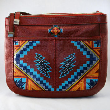 "Hand-Painted ""Mexicali Blues"" Crossbody Bag"