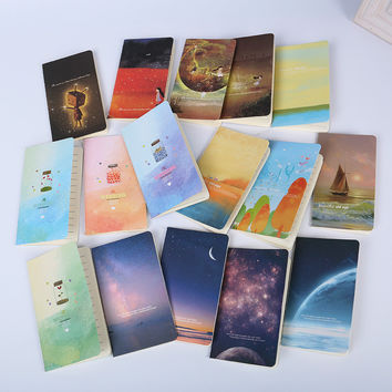 1pcs Mini Cute Ocean Series Notebook Wishing Bottle Childhood Fantasy Style Notepad Moon Star Universe Diary Portable Notebook