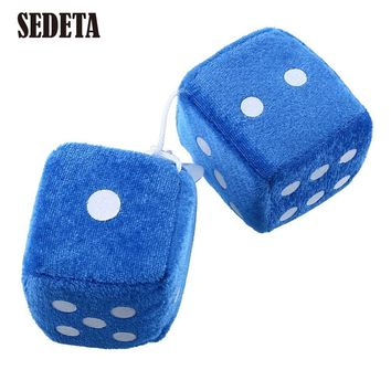Pair Blue Fuzzy Plush Dice Dots Rear Mirror Hangers Vintage Car Auto Accessories*Rear View Mirror Car Decoration