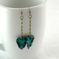 handmade wavy aged verdigris brass leaf charm by FindingBrooke