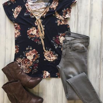 Cross Front Floral Top - Navy