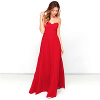 Casual Red Strapless Maxi Dress