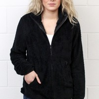 Snuggled Up Fleece Sherpa Jacket {Black} EXTENDED SIZES