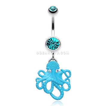 Evil Octopus Belly Button Ring (Teal)