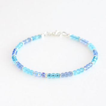 Shades of blue delicate bracelet, blue seed bead bracelet, blue bead bracelet, minimal jewelry, small bead bracelet, simple jewelry, 7 1/4""