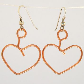Heart wire sculpture solid copper earrings