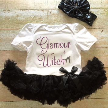Baby Girl Halloween Outfit - Black Tutu with Bow Headwrap, Baby Tutu, Halloween Tutu, Baby Halloween, Witch Outfit, Baby Photo Prop