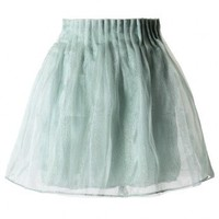 Mint Green Organza A-line Skirt