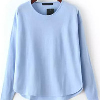 Blue Round Neck Dip Hem Knit Sweater -SheIn(Sheinside)
