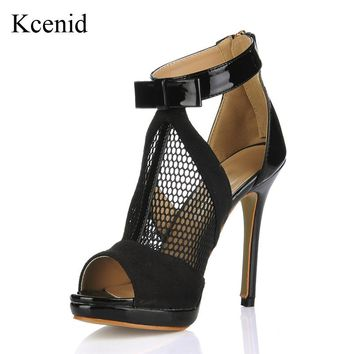 Kcenid Big size 35-43 gladiator women pumps ladies hollow out 12cm high heels sexy peep toe roman sandals party wedding shoes