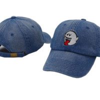 Denim Blue Ghost Embroidered Outdoor Baseball Cap Hats