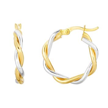 10K Yellow-White Gold 15x3mm Shiny Twisted Double  Wire Extra Light Round Hoop Earring with Hinge Clasp