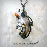 Wire Wrapped Pendant - White Crab Agate Necklace in Black Wire | CareMore - Jewelry on ArtFire