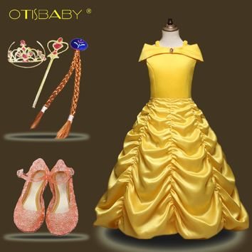 Girls Belle Princess Dresses for Carnival Party Kids Beauty and the Beast Costumes Accessories Children Elsa Festival Ball Gown