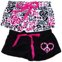 Amazon.com: Set of Two Peace and Love Print Plush Pajama Shorts for Juniors L: Clothing