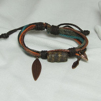 Bracelet leather waxed cotton cord handcrafted bone, feather and/or heart charm adjustable