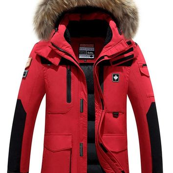 Men's Faux Fur Hooded Down Jacket Parka Windbreak Heavy Coat