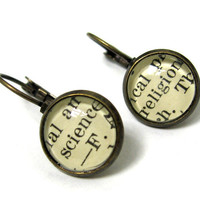 Science and Religion Recycled Library Card Word Earrings Patina Brass by The Written Nerd