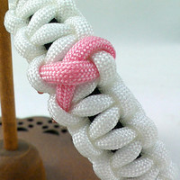 Breast Cancer Awareness Cobra Stitch Paracord Survival Bracelet- mens, womens, teen, child