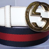 New Gucci Men's Belt Signature GG Logo Buckle Blue Red Size 36 90 White