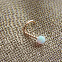 White opal gold filled nose screw