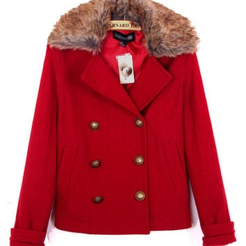 Fur Collar Double-Breasted Button Woolen Coat