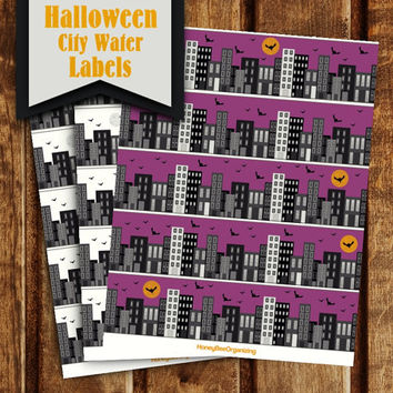 DIY Halloween Big City Water Labels - White Purple Napkin Rings - Printable Halloween Water Bottle Wrappers - Halloween Water Bottle Labels