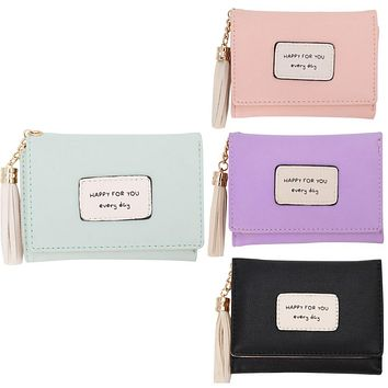 THINKTHENDO Women Leather Small Wallet Trifold Card Holder Coin Tassel Purse Clutch Handbag