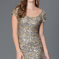 Short Sequin Homecoming Dress with Short Sleeves