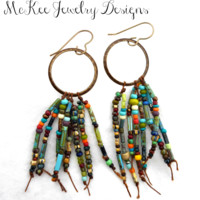 Chocolate brown metal hoops and Czech glass knotted earrings.