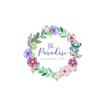 Custom Logo Design -  Premade Logo Design - Watermark for Photographers and Small Businesses - Floral Wreath Shabby Chic. VD007