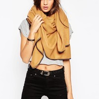 ASOS   ASOS Plain Oversized Square Scarf With Blanket Stitch at ASOS