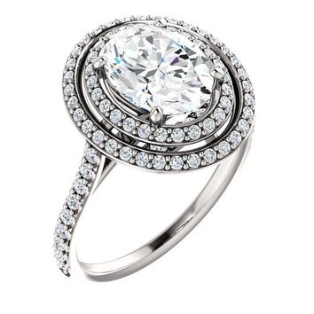 2.0 Ct Oval Halo-styled Diamond Engagement Ring 14k White Gold