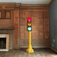 Vintage Stoplight, Econolite Traffic Light, Original Cast Iron Base, Traffic Control Corp. Chicago
