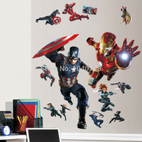 Avengers Superheroes 3D Through Wall Stickers for Kids Room Decoration Wall Paper Captain America Hulk Ironman Posters Decals