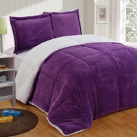 Chezmoi Collection 3-piece Micromink Sherpa Reversible Down Alternative Comforter Set (Queen, Purple)