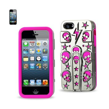 New Hybrid Skulls Case With Kickstand In Hot Pink For iPhone SE/ 5S/ 5