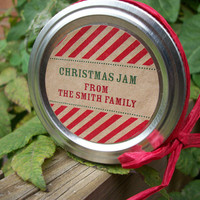 Christmas Candy Cane KRAFT paper Canning jar labels, 2 inch round stickers for holiday gifts, mason jars, fruit  and vegetable preservation