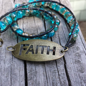 Faith leather wrap beaded bracelet blue brown crackle beads