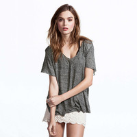 Gray V-Neck Short-Sleeve Shirt