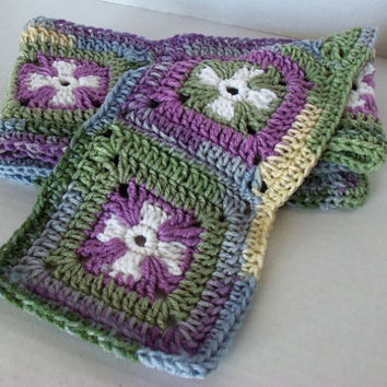 Purple and Green Granny Square Cross Scarf by SnugableTouches
