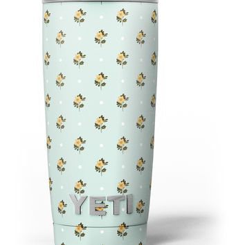 The Micro Daisy and Mint Polka Dot Pattern Yeti Rambler Skin Kit